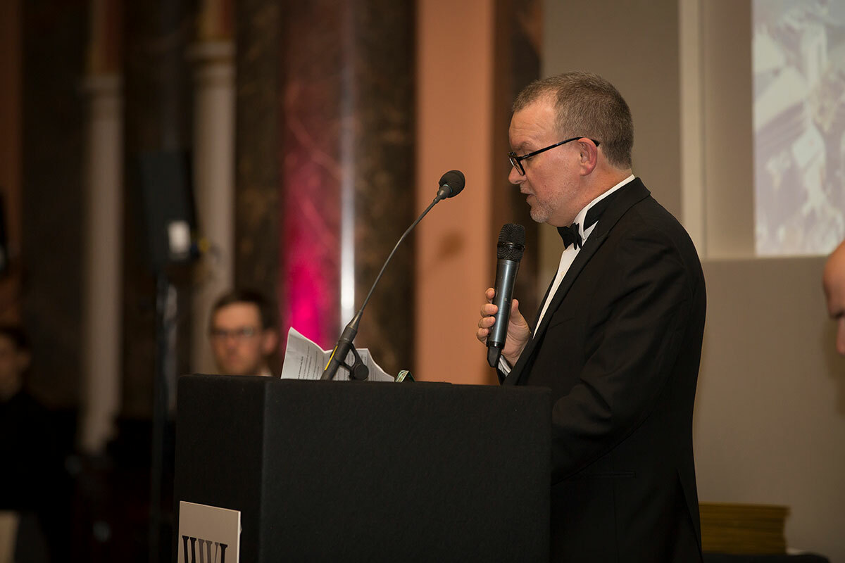David Hillard of Clayton Utz accepting the Pro Bono Firm of the Year award at the 2019 WWL Awards ceremony in London in May 2019